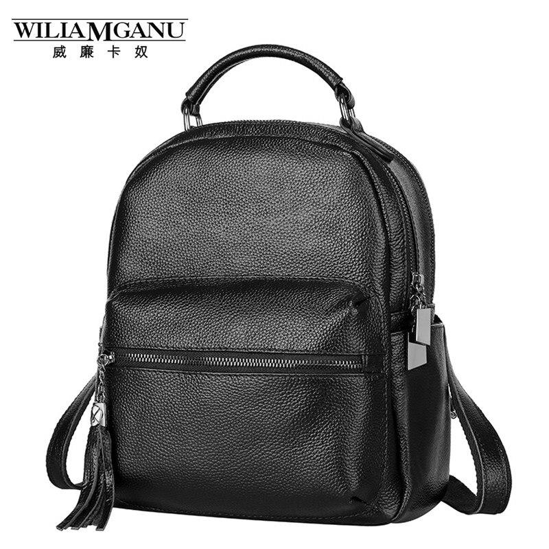 WILIAMGANU Genuine Leather Backpack women bag schoolbag backpacks for teenage girls woman bag 2017 kanken high