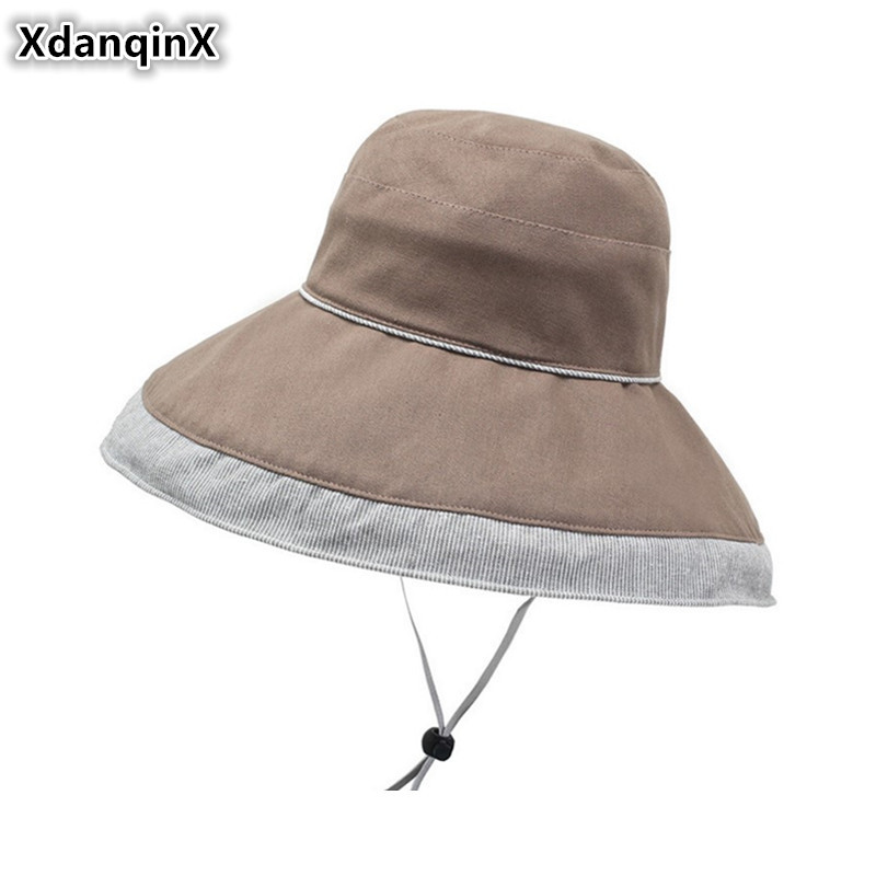 XdanqinX Elegant Adult Womens Cotton Bucket Hats Novelty Fashion Beach Hat For Women 2019 New Summer Big Visor Breathable Caps