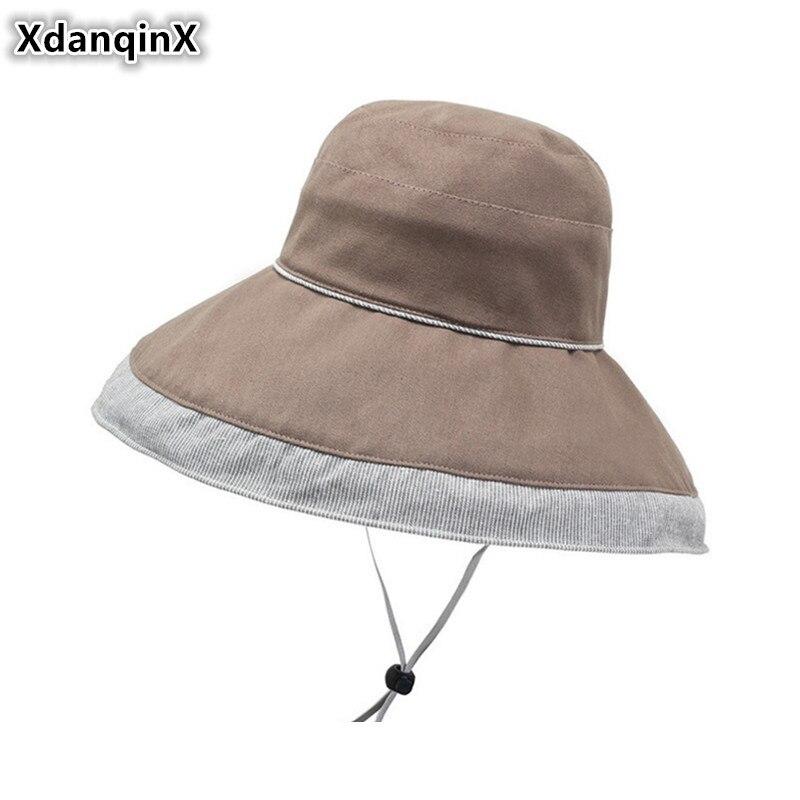 Aufstrebend Xdanqinx Elegant Erwachsene Frauen Baumwolle Eimer Hüte Neuheit Mode Strand Hut Für Frauen 2019 Neue Sommer Große Visier Atmungsaktiv Kappen Eimer-hüte Kopfbedeckungen Für Damen