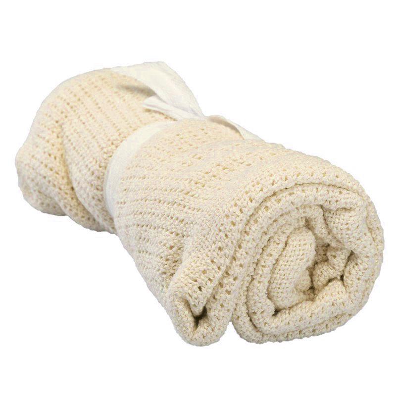 LCLL-100% Cotton Baby Infant Cellular Soft Blanket Pram Cot Bed Mosses Basket Crib