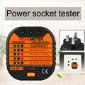 Nova Chegada PM6860ER Tomada Eléctrica Tester Detector de Linha Com GFCI/Função de Teste E Fuga Tester RCD Plug REINO UNIDO Preto
