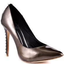 Chocolate Patent Leather Pointed Toe High Heels Slip-On Rivet Shoes Women Women Pumps Zapatos Tacones De Plataformas Stilettos
