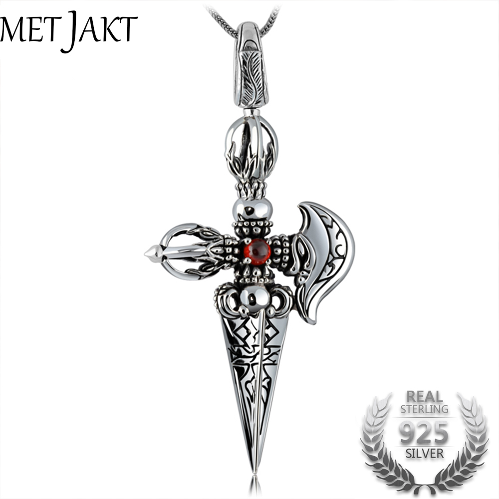 MetJakt Punk Buddhism 925 Sterling Silver Peace Pendant Necklace and Snake Chain Unisex Exorcise Evil Spirits Jewelry 925 sterling silver jewelry necklace pendant retro evil vajra pestle jiangmo avoid evil spirits musical instruments