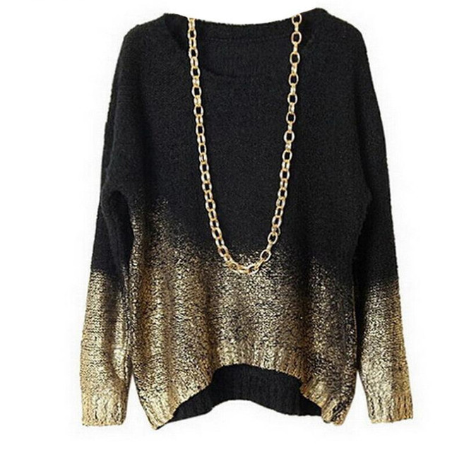 Золотой трикотажный пуловер Для женщин Свободные негабаритных Свитеры для женщин Для женщин S Джемперы осень 2017 г. свитер Mujer Европейский Стиль с длинным рукавом Стиль