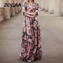 Женское длинное платье с цветочным принтом zogaa богемное элегантное