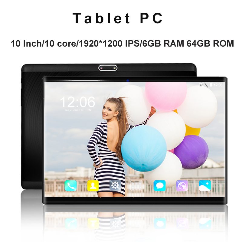 Free Shipping 4G LET 10 Inch Tablet Pc 10 Core Android 8.0 6GB+64GB 1920*1200 IPS 2.5D Tempered Screen 2.4G/5G WiFi Tablets 10.1