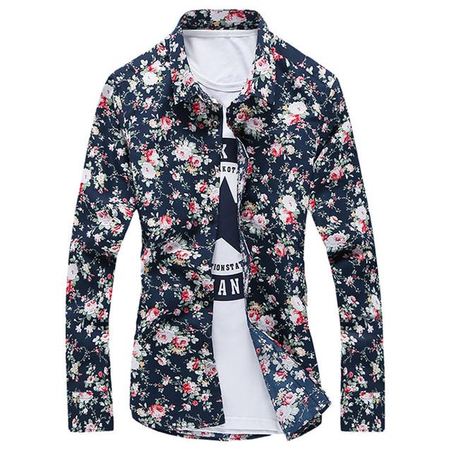 Camisa dos homens da marca 2016 fivela moda abotoaduras de negócios Formal vestido de Slim Fit Camisas sociais Design Floral Camisas 3XL Camisas