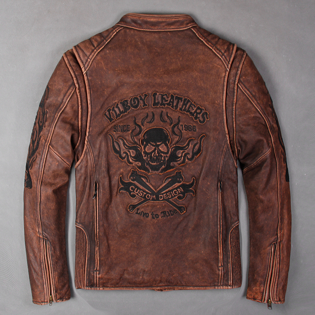 LIVE TO RIDE SINCE 1988 SKULL GENUINE COW LEATHER JACKET