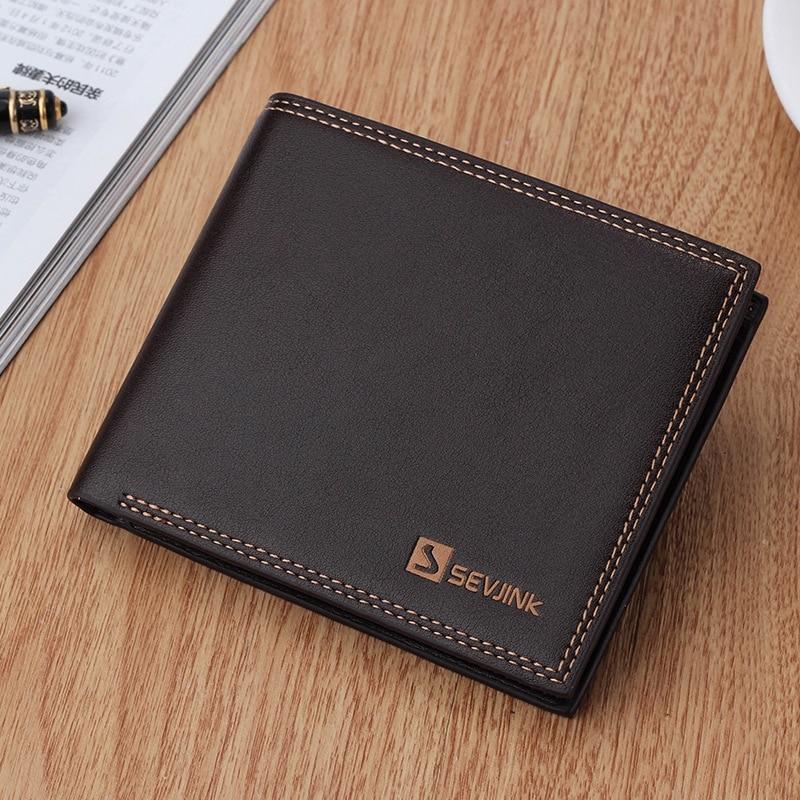 HOT SALE Popular Black and Coffee short Wallet Men Purse Business Wallets Soft pu Leather Men card Wallets Male Purses