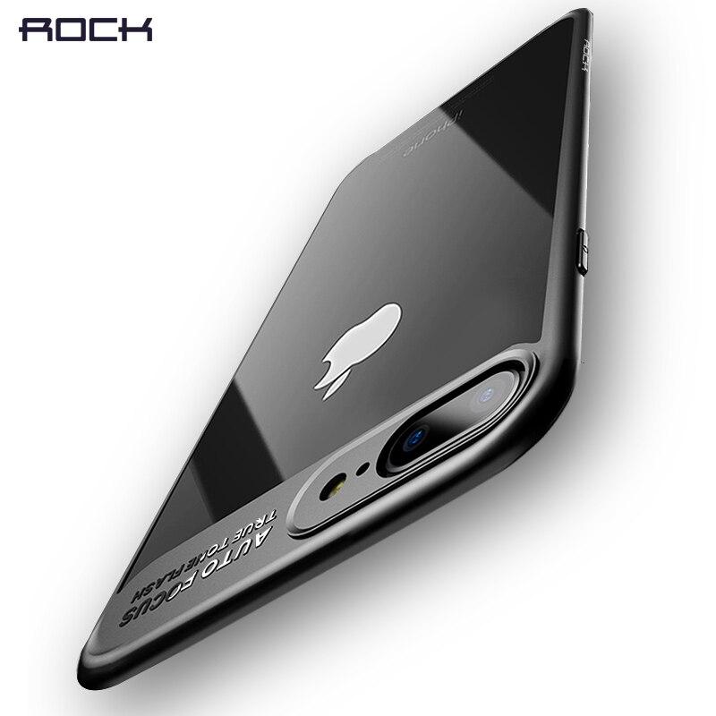 Rock Slim para iPhone 8 7 6 6 s Plus, transparente PC y TPU silicona para iPhone coque para iPhone7 caso
