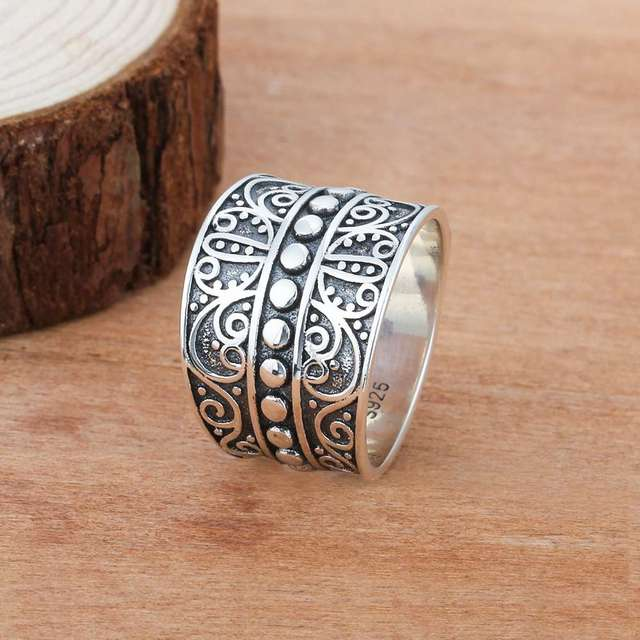 Solid 925 Sterling Silver Rings 15.5MM Width Mysterious Pattern Vintage Rings Wedding Engagement Rings Silver Jewelry(RI102790)