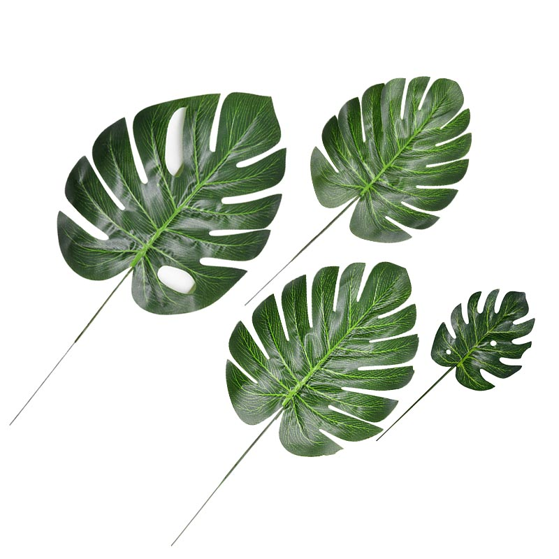 10-12pcs Artificial Tropical Palm Leaves Simulation Leaf For Hawaiian Luau Party Jungle Beach Theme Party Decorations