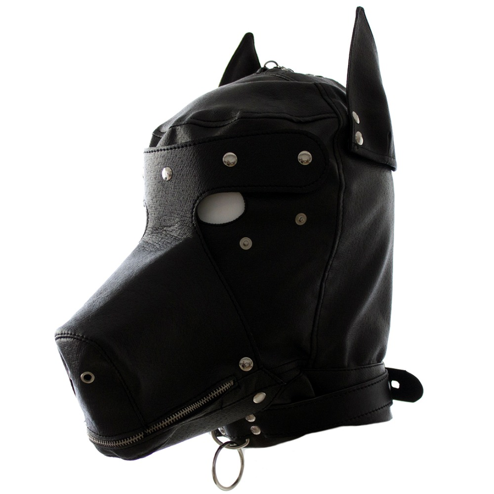 Leather fetish dog headgear sexy cosplay hood mask head harness bondage restraint adult SM game sex toy for women men gay couple fetish mask hood sexy toys open mouth eye bondage hood party mask cosplay slave headgear mask adult game sex products 4 style