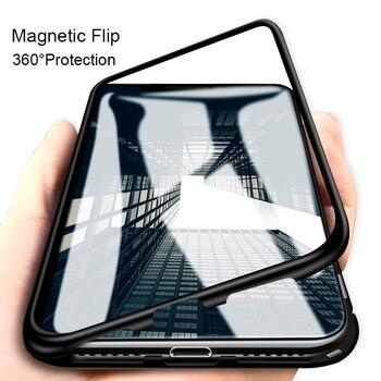 아이폰 6 s 7 8 플러스 x에 대 한 자기 흡착 케이스 sumsung 갤럭시 s8 s9 플러스 알루미늄 금속 프레임 강화 유리 다시 커버 케이스