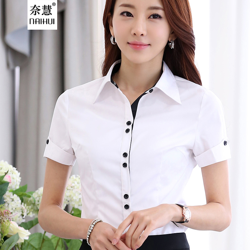 High Quality New 2015 Summer Formal Women Shirts White