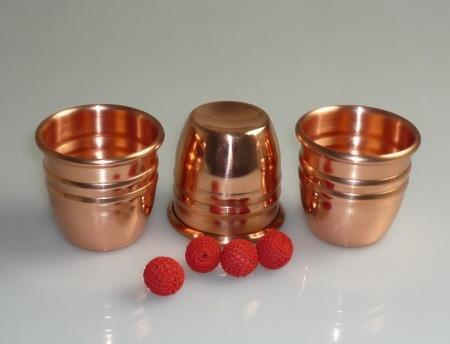 Super Professional three cups three balls in copper(large size),golden color, close up magic/magic props