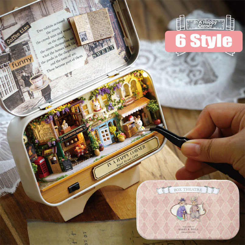Funny Box Theatre Wooden Box DIY Doll House Creative Handmade Miniature Countryside Notes Puzzle Toys For Children Birthday Gift