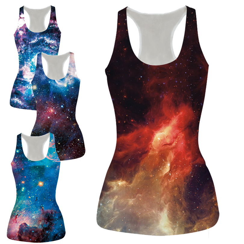 Alisister Free Shipping New Space red/blue Crop   Tops   Femme 3d Print Harajuku Cropped Feminino Sexy   Tank     Top   Galaxy Vest Camisole