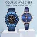 Пара наручные часы naviforce Лидирующий бренд из нержавеющей стали Кварцевые наручные часы для мужчин и женщин модные повседневные часы подаро...