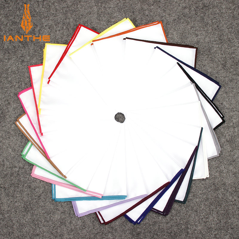 2018 Fashion Mens Cotton White Handkerchief Colorful Rim Pocket Square For Men Women Party Wedding Groom Suits Pocket Hankies