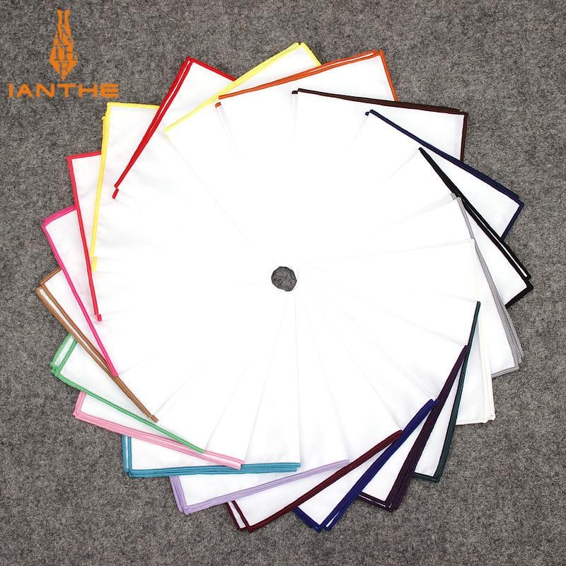 2018 Fashion Mens Cotton White Handkerchief Colorful Rim Pocket Square For Men Women Party Wedding Groom Suits Pocket Hankies