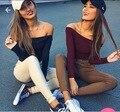 Nueva moda 2017 del otoño del resorte de hombro top artículo boca de manga larga sin tirantes crop tops mujeres knitting clothing rendering