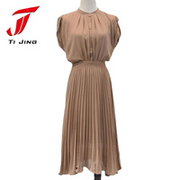 2014 New Spring Fashion Ladies Solid Color Sleeveless Summer Dress Irregular Round Neck Chiffon Dress Casual