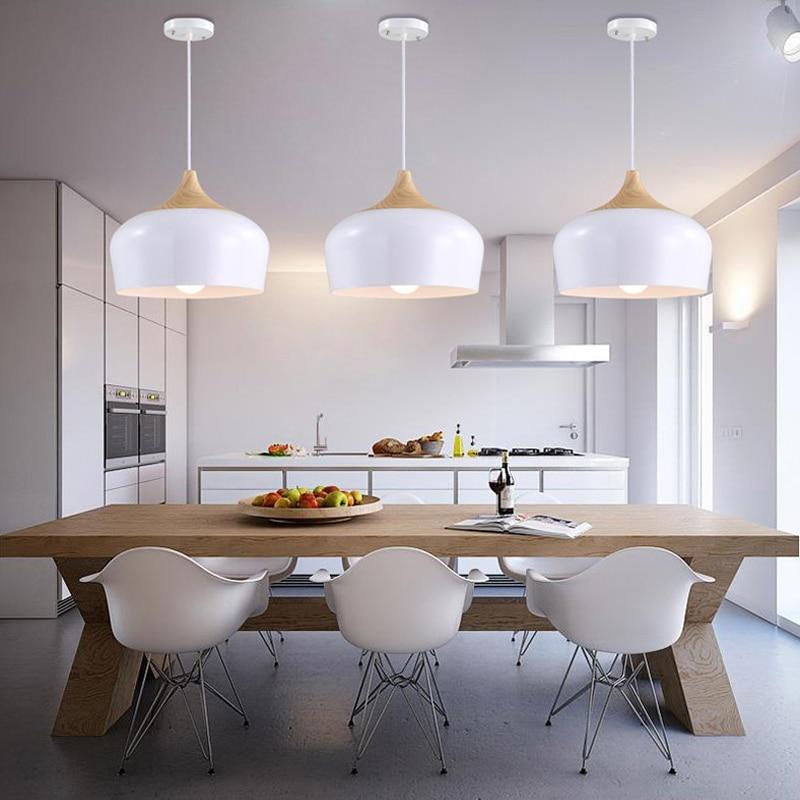 White Pendant Light Vintage Industrial Lighting Fixture Kitchen Modern LED Ceiling Lamp Living