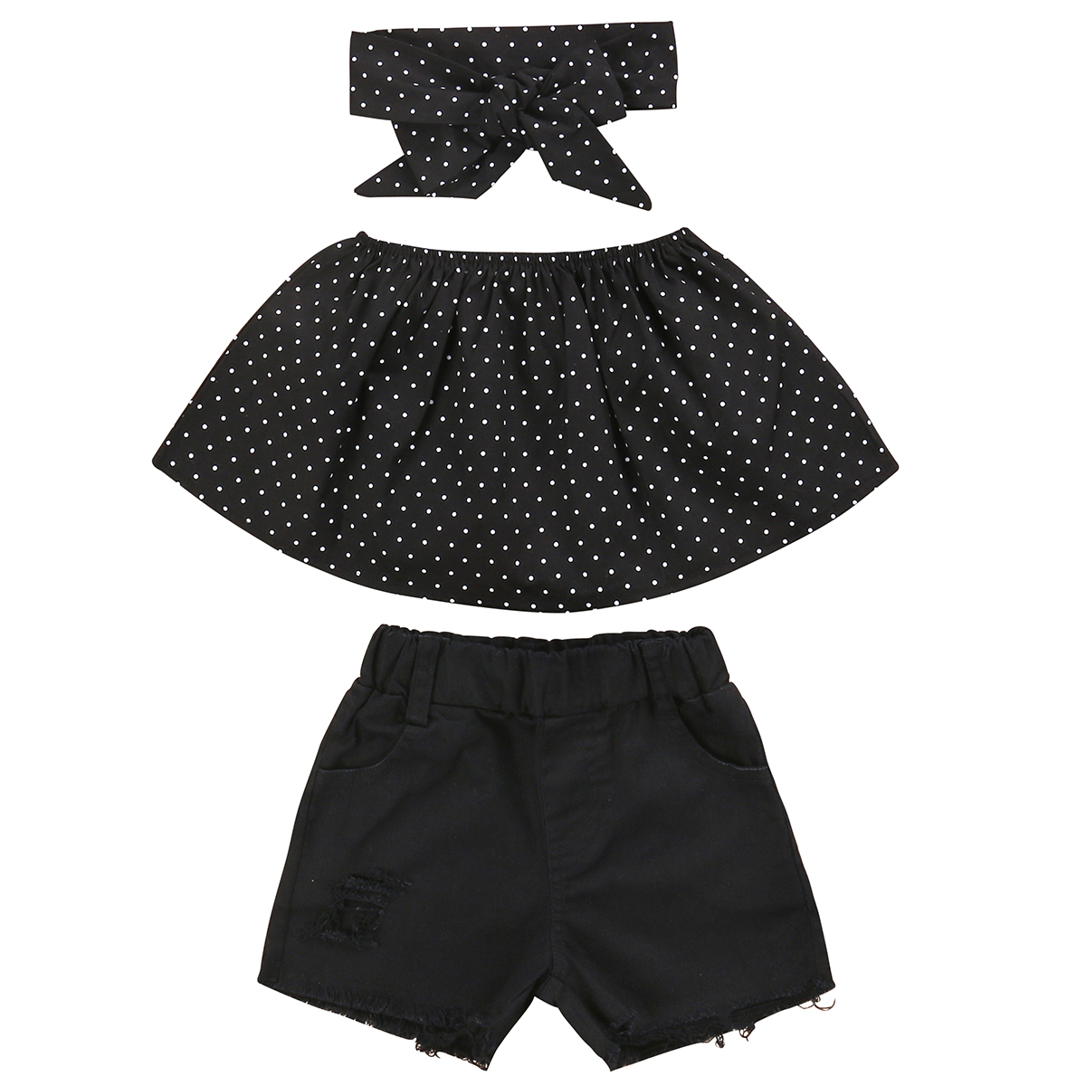2017 Hot children clothes set Fashion black Toddler Kids Girls Off Shoulder Dot Tops Hot shorts 2Pcs Outfits Set Summer Clothes