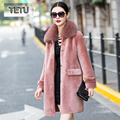 Brand 2017 New Fashion Women Winter Jacket Lady Wool Coat Long Designer Luxury Fox Fur collar Coat 16093C