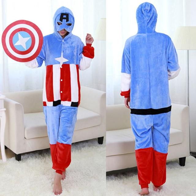 33ba68d27d Drop Verschiffen Cosplay Kostüm Pyjama Lustige Cos Captain America Superman  Nachtwäsche Unisex Cosplay Partei Homewear Für