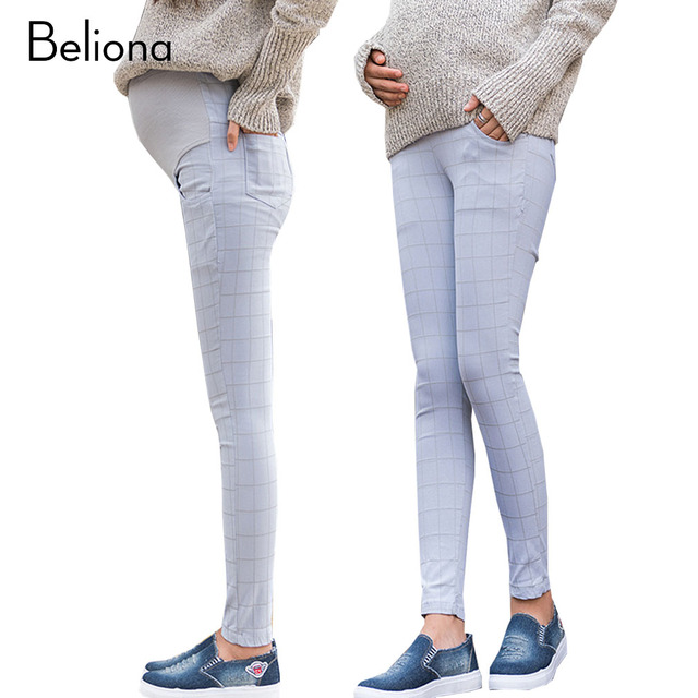 Obscure Plaid High Waist Maternity Pants for Pregnant Women Skinny Leggings Plus Size Pregnancy Trousers Maternity Clothes