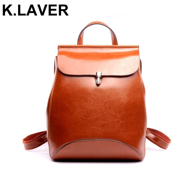 K.LAVER Fashion Womens Backpacks Cow Leather For Teenage Girls School Bag Shoulder Bags Casual Back Packs Travel Bags Mochila