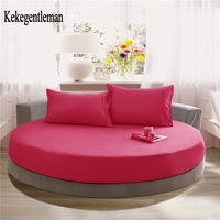 Solid Color 100 Cotton Round Fitted Sheets Wedding Love Hotel Romantic Round Elastic Bed Sheet Diameter