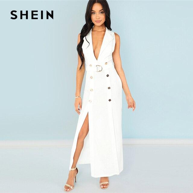 38a9696e2b1 SHEIN Notch Neck Button Detail Adjustable Belted Slit Dress White Zipper  Blazer Dress Women Summer Sleeveless Maxi Workwear