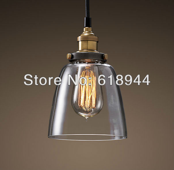 Wholesale free shipping vintage glass copper lamp pendant lights designer edison bulb modern lighting black iron pendant light