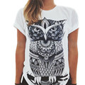 Female T-Shirt 2017 New Fashion Women Summer Short Sleeve Cotton Tee Tops Animal Owl Cat Print Harajuku T Shirt Camisetas Mujer