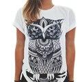 Feminino T-Shirt 2017 Novas Mulheres Da Moda Verão de Manga Curta de Algodão tee tops animal coruja cat imprimir harajuku t shirt camisetas Mujer