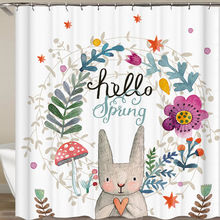 цена на Hot Sale Cute Rabbit Shower Curtain Christmas Decor Polyester Fabric Printing Bathroom Curtain Waterproof Bath Curtains 3 Sizes