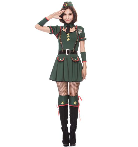 green lady Halloween Officer Policewomen Cosplay Fancy Dress Outfit Sexy Erotic Fetish Cop Police Costume short dresses A073