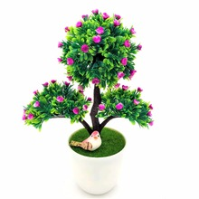 1pc christmas tree artificial decrative bonsai artificial flowers fake green pot plants ornaments home party office - Christmas Tree In A Pot