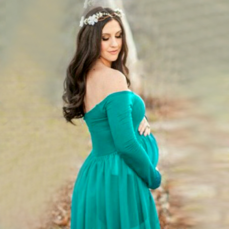 SMDPPWDBB Maternity Dress Photo Shoot Maxi Maternity Gown SPLIT FRONT Maternity Chiffon Sexy Green Maternity Photography Props