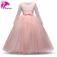 Girls Sequins Party Princess Dress Girl Long Sleeve Dress For Girls European Style Elegant Dress For