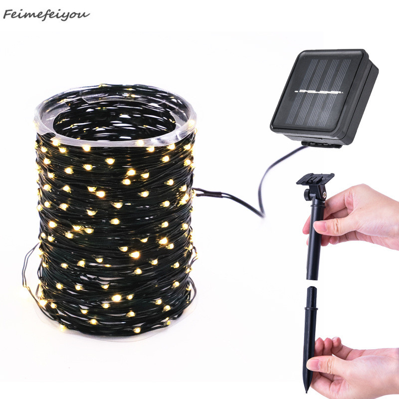 12m 100LED Solar Light String Outdoor Waterproof PVC Fairy Lights String For Garden Courtyard Lawn Solar Light Decoration