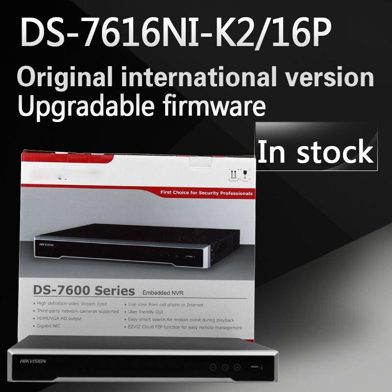 In stock Free shipping DS 7616NI K2 16P English version 2SATA 16 POE ports 4K 16ch