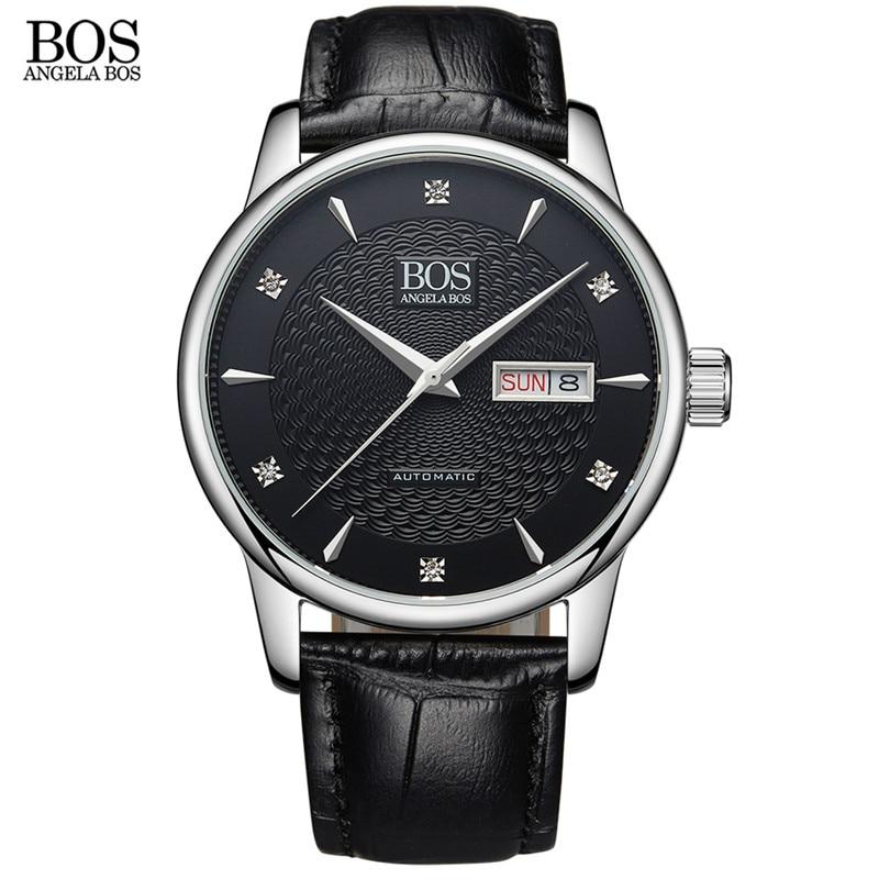 ANGELA BOS Автоматические Наручные Механические деловые часы мужские сапфировые волнистые часы из натуральной кожи роскошные часы - 2