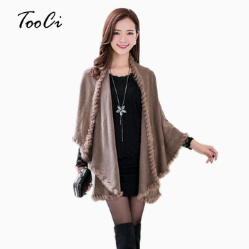New Fashion Spring  Rabbit Fur Collar Cashmere Cardigan Shawl Women Khaki Knitted & Faux Poncho Coat Outerwear