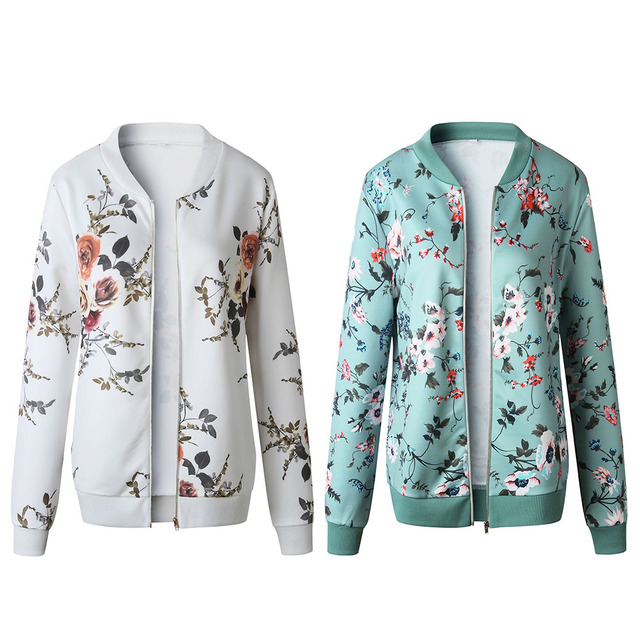 Retro Zipper Bomber Army Coat Floral Flight Biker 4