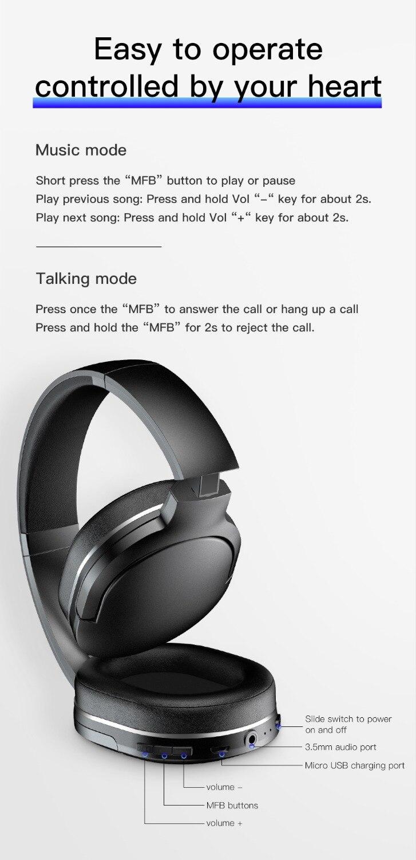 Baseus D02 casque sans fil Bluetooth 5.0 écouteur mains libres casque pour oreille tête téléphone iPhone Xiaomi Huawei écouteurs écouteur - 3