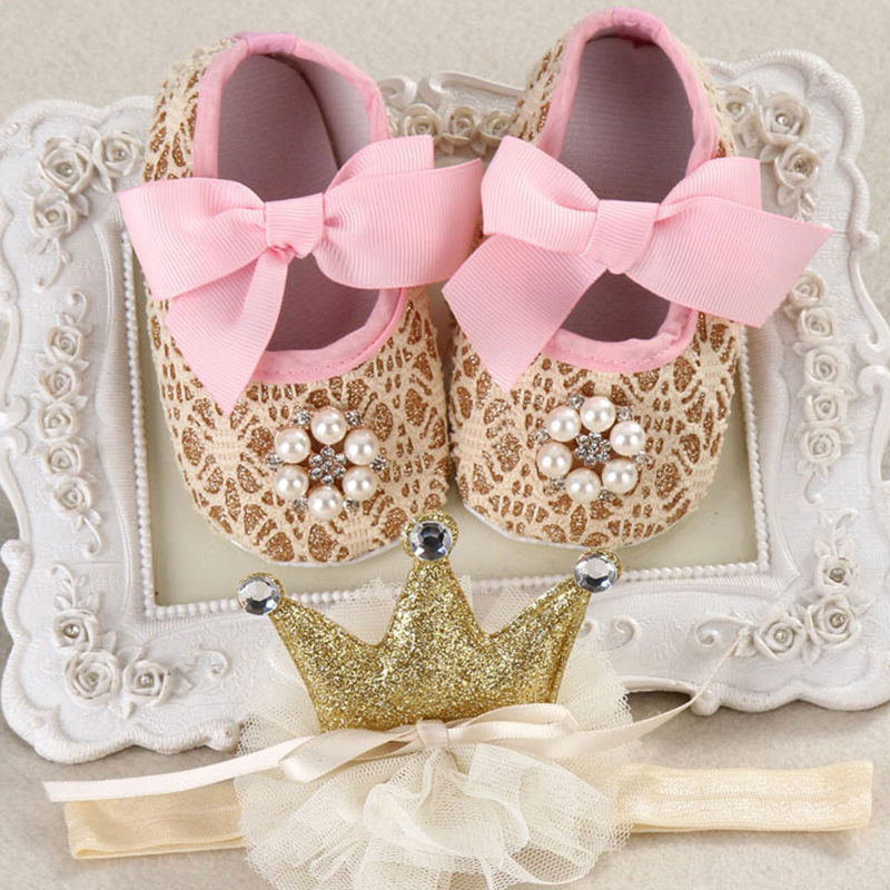 new Party baptism princess shoes baby girl flower headbands set,baby photo props infant shoes,baby girl boots Baby Moccasins